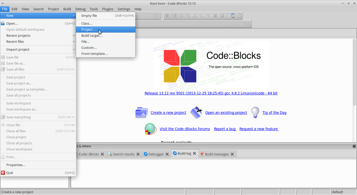 pic001 - 2014-08-08 Code Blocks - New Project