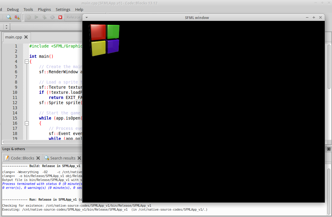 pic009 - 2014-08-08 Code Blocks - Initial Run in Release Mode