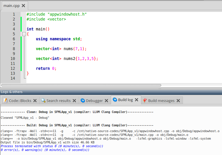 pic023 - 2014-08-08 Code Blocks - Build with C++11 Mode Set