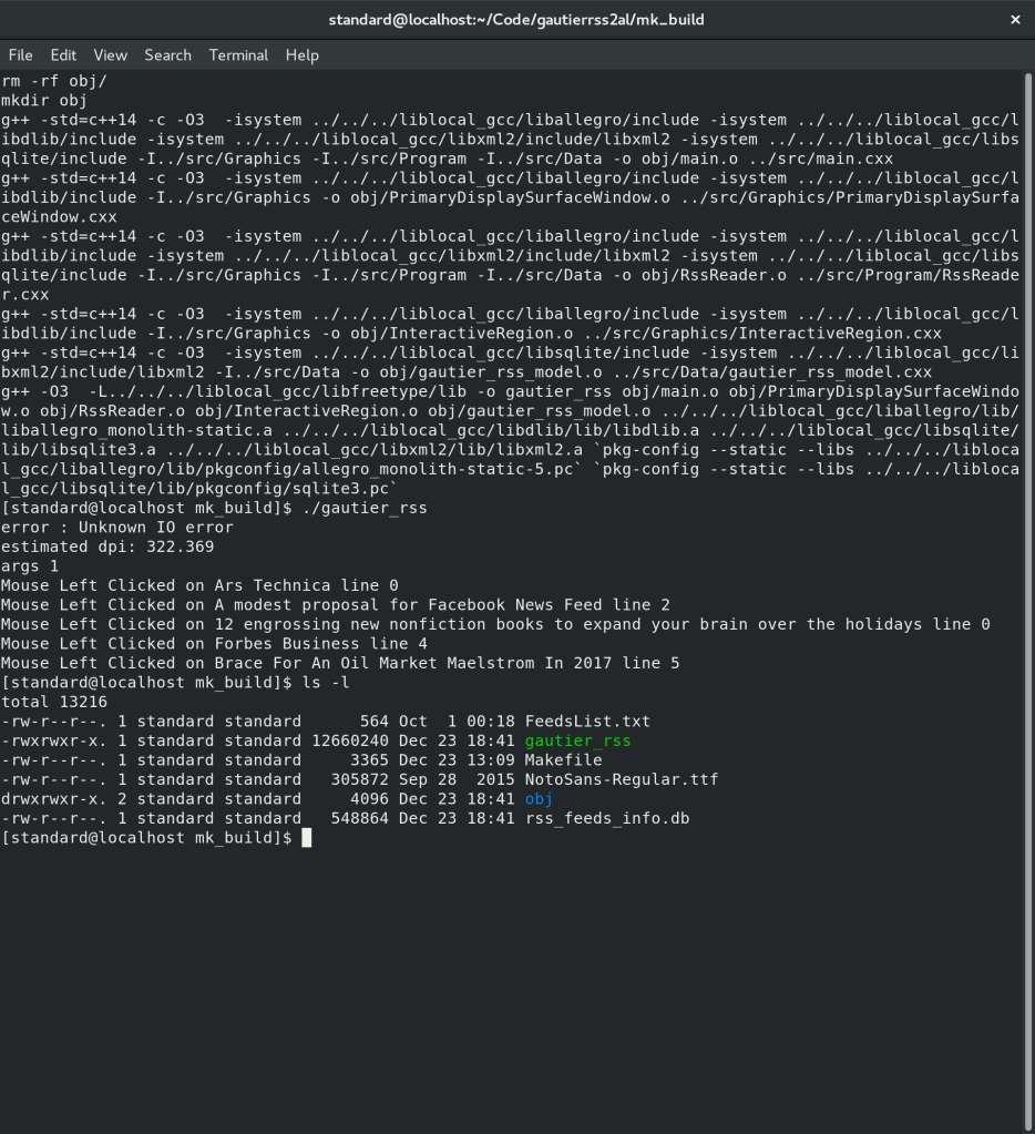 Gautier RSS Reader 2016 Edition Makefile Build for C++ 14