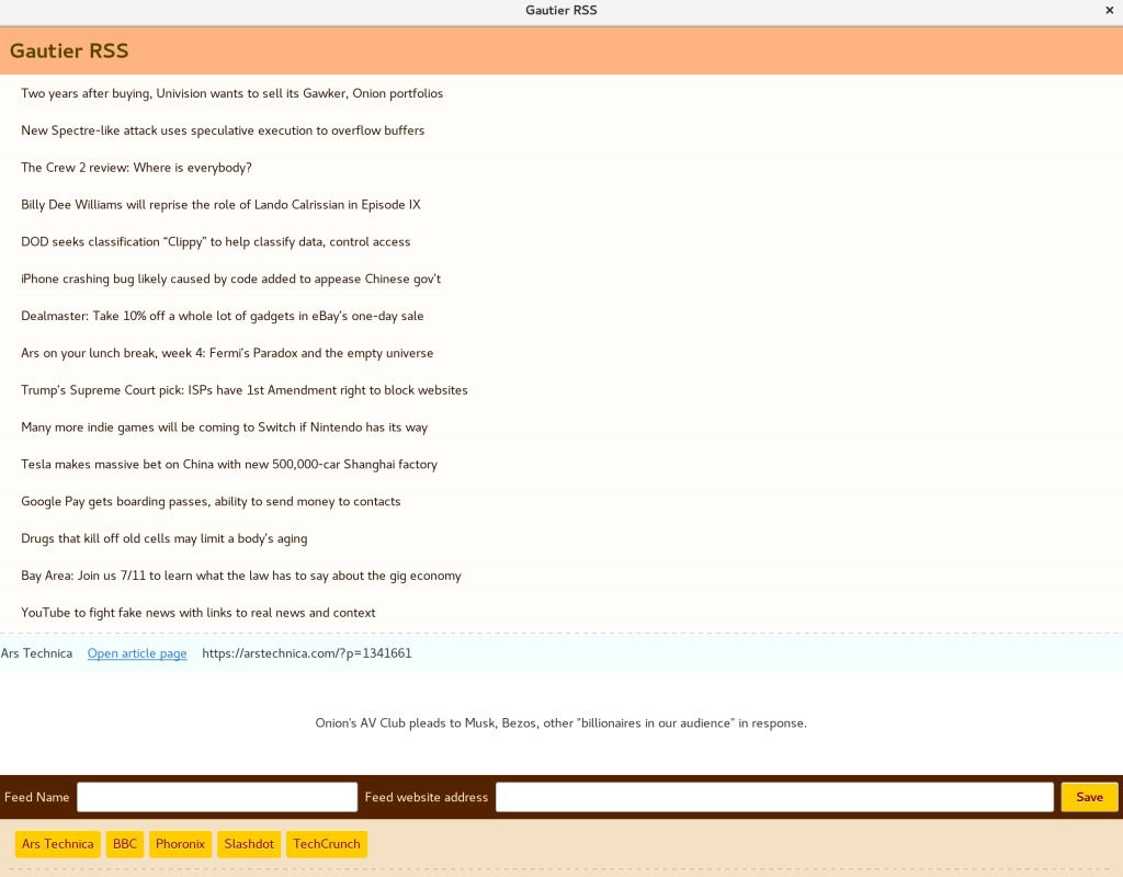 Very simple RSS reader by Michael Gautier